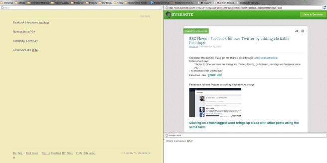 Writer in left screen, Evernote Shard in top-right, notepad bottom right