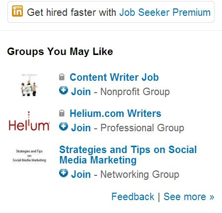 screen shot of linkedin 'groups you may like' sidebar widget