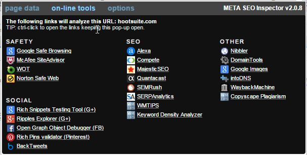 META SEO Inspector - Tools - Hootsuite Dashboard Screenshot