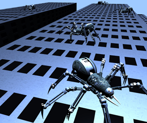 robot spider crawling on tower building