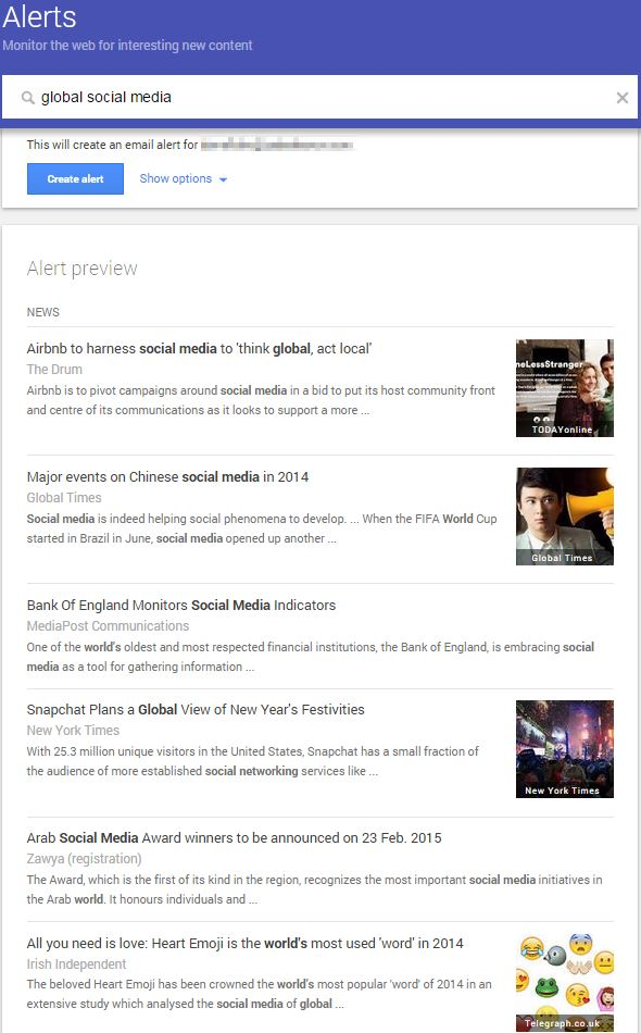 Google Alerts results for Global Social Media